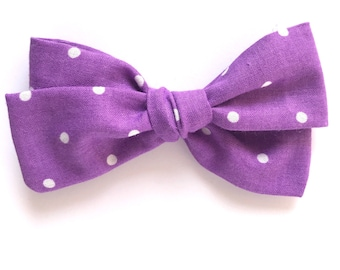 Purple with white polk dots bow - homemade - flowers - summer - baby headbands - hair clips - baby girl - Bows - hair bows