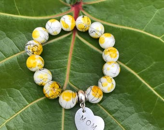 White/Yellow Hand-Stamped Bracelet
