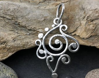 Sterling silver spiral pendant, swirling flaming spiral, entirely handcrafted, unique Elfin Works design, solid sterling silver