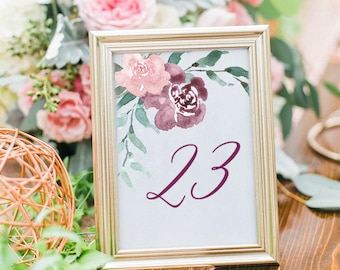Printable Table Numbers, Rustic Table Numbers, Table Number Cards, Purple and Blush Table Numbers, Table Numbers Printable, Rustic