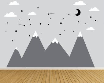 Wall Decals-Mountain with Stars- Wall Decal-Kids Wall Decals-Nursery Wall Decals-Moon and Stars Wall Decals-Boys Room Decals