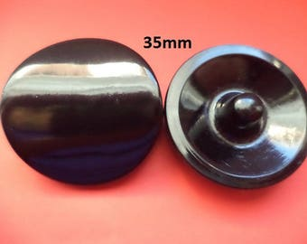 4 large Knobs 35 mm black (3523e) coat knobs