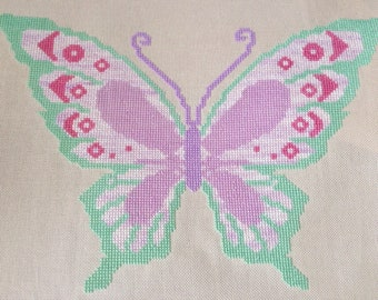 Pastel Butterfly Cross Stitch PDF Chart