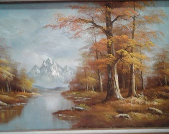 Vintage Oil On Canvas/Signed Markey/ Fall/ Trees/Snow  Capped  Mountains/  River/ Stream
