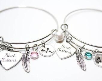 soul sisters bracelet, soul sisters bangle, soul sisters jewelry,  soul sisters initial bracelet,  soul sisters initial jewlery, sister gift