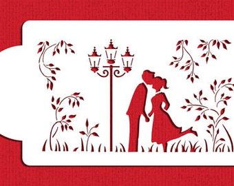 Kissing Couple Silhouette Cake Stencils - Designer Stencils (C935)