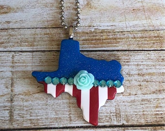 Texas Jewelry, Blue Glitter Texas Pendant with Red Stripes-flower and rhinestone embellishments, patriotic jewelry, Texas Spirit