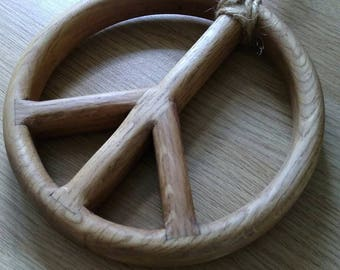 A Hanging Peace Sign Handmade From Solid White Oak (rounded edges)