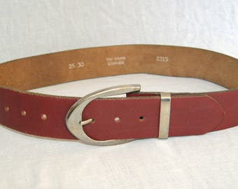 Vintage 1970's Cordovan Red Brown Leather Cowhide Belt - Size Marked 26 30