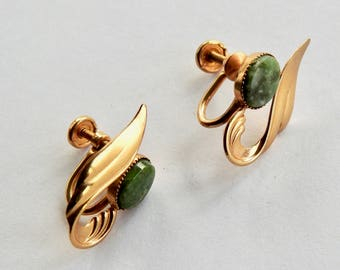 DCE 14K Gold Filled Jade Earrings