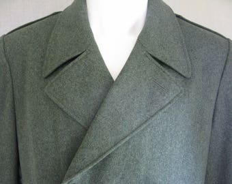 WINTER SALE Heather Green Wool Military Trench Coat Size Mens 46 Large
