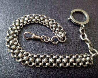 Sterling silver Victorian pocket watch chain 24 cm ( 1800 's ) from France