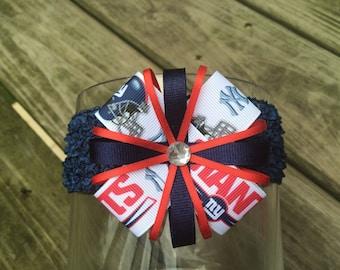 New York Giants Headband or Hair Bow Giants Baby Headband (baby/child/adult)