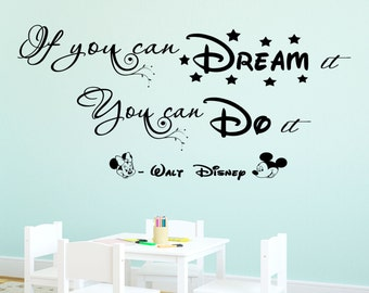 Disney Wall Quote If You Can Dream It Do It Vinyl Decal Minnie Mickey Stickers