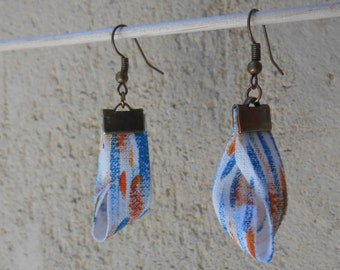 Long earrings made of textile. Unique piece. cotton. Matiya collection.