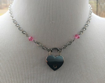 Locking Day Collar Necklace With Swarovski Crystals 9 Colors Available, BDSM Submissive Jewelry, DDLG, Small Heart Nickel Lock