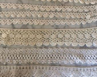 Lot of 5 Handmade Lace Edging Trim, Continuous Loops