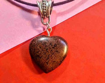 Heart Shaped Red and Black Jasper Pendant Necklace