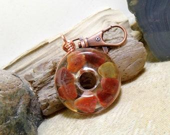 Lake Superior Agate Key Chain, Purse Clip, FOB, Rear View Mirror, Window, Sun Catcher, Copper, Heart 01 Stone in Resin