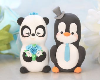 Unique wedding cake toppers Panda, Penguin - cute bride and groom figurines anniversary gift cute personalized elegant black white blue