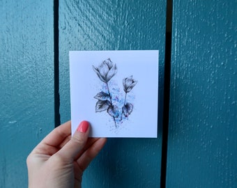 easter card, watercolor card, botanical art, birthday card, happy anniversary, watercolour flower card