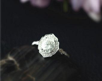 New Design, Forever Classic Oval Moissanite Ring, 1.5 ctw Moissanite Engagement Ring, Diamond Accent, Solid 14K White Gold Ring,