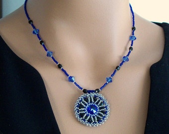 Swarovski Crystal Pendant Necklace in Sapphire and Black