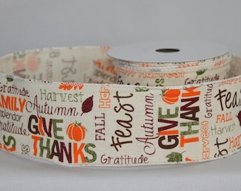 10 yards Thanksgiving Greeting Fall Wire Edge Ribbon - Ribbon for Wreaths, Fall Wreath Ribbon, Fall Ribbon