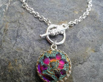 Aqua with Iridescent  Magenta Flower Czech Button Front Toggle Necklace
