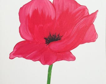 Poppy Painting, Floral, Flower Painting, Acrylic, Wall Art, Poppies, Artwork