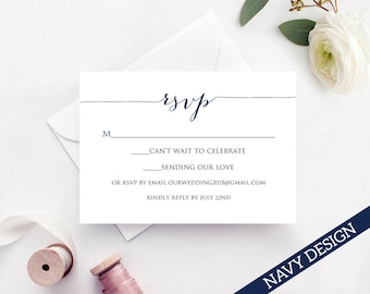 RSVP Card Template Edit Print Instant Download DIY - Celebrate it templates place cards