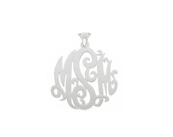 "Mono05 - Sterling Silver 1.5"" Monogram Necklace w/ Pendant Bail"