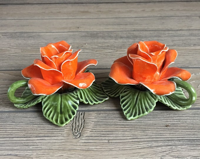 Featured listing image: Pair of Norcrest Fine China Flower Candle Holders