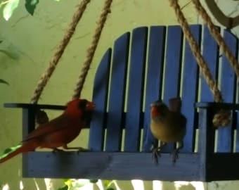 Wooden Hanging Brown Bird Feeder Bench Swing Seat Seed Garden Handcrafted USA