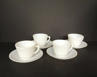 MacBeth-Evans  Petalware Monax Cups and Saucers - Set of 4