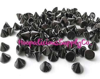 100 pcs 10mm Acrylic Cone Studs. Ships from USA. Choose Color: Gold, Gun Metal, Brass, or Silver. Perfect for Jewelry or Leather.
