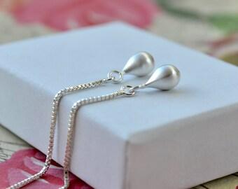 Sterling Silver Teardrop Earrings, Silver Threader Earrings, Teardrop Dangle Earrings, Minimalist Silver Jewelry, Mothers Day Gift For Women