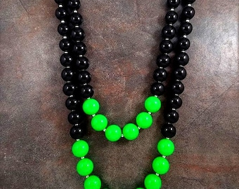 Statement Necklace, Beaded, Chunky Necklace, Big Bead Necklace, Green, Black, Gray, Neon, Gumball Necklace, Double Strand, Multistrand