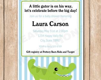 Alligator Baby Shower Invitation | Crocodile, Stripes - 1.00 each printed