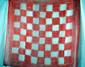 Vintage 1960s Burmel Scarf - Red and White Checkered Squares - Nylon-ish