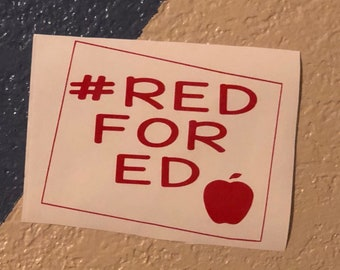 Red for ed colorado teacher support car decal. #redfored