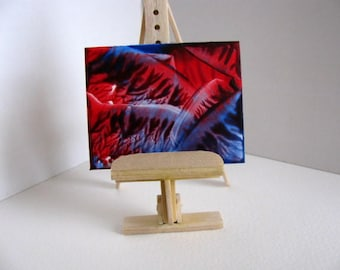 1:12 Scale Original Encaustic Abstract Painting for Collectors / Dollhouse Art / Miniature Painting / Red, Blue / SFA (Small Format Art)