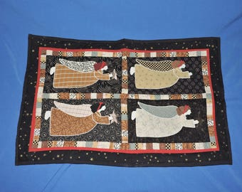 Folk Art Black Brown Red Angel Quilted Wall hanging Table Runner Gold Star Hand Made Applique Stitched Cotton