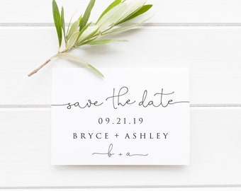 Save the Date Card, Modern Black and White Printable, Minimalist Simple Chic Wedding Announcement, White Neutral Classy, Magnet Photo