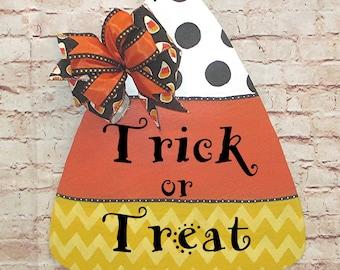 Halloween Candy Corn Trick or Treat Wood Door Hanger Wreath, Fall Decoations