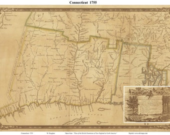 Connecticut 1755 Map - by Douglass   Reprint