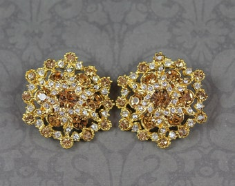 Pair of Topaz and Clear Rhinestone Large Round Buttons