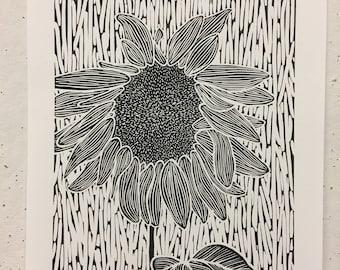 Sunflower Linocut Print