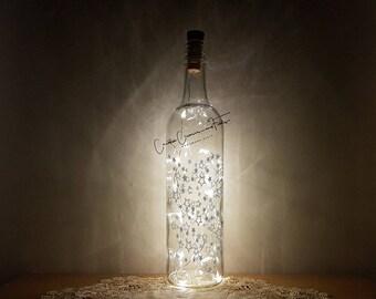 Bottle Light Kit - Silver Star Shower, Wine Bottle Lamp, Unusual Gift, Craft Kit, Table Decor, Cordless LED Lights, Bottle Lamp, Fairy Light