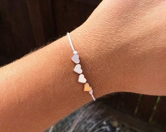 Rose gold heart bead bracelet